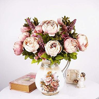 1 ענף משי אדמוניות פרחים לשולחן פרחים מלאכותיים