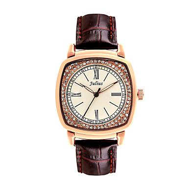 Damen Kleideruhr Modeuhr Quartz Imitation Diamant Leder Band Vintage Schwarz Weiß Rot Braun Rosa Beige Marke JULIUS