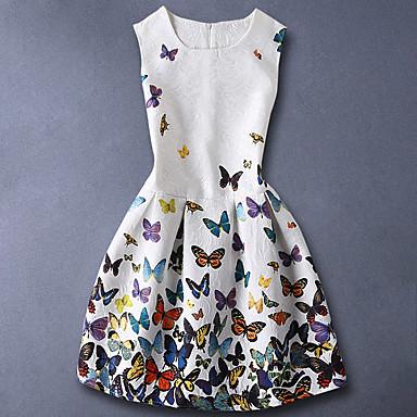 お買い得  女児 ドレス-子供 女の子 ベーシック 甘い 日常 バタフライ フラワー プリント ノースリーブ コットン ドレス ホワイト