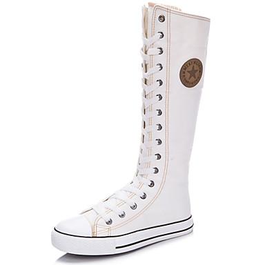 povoljno Ženske cipele-Žene Čizme Ravna potpetica Okrugli Toe / Zatvorena Toe Patent-zatvarač / Vezanje Platno Čizme do koljena Modne čizme Proljeće / Ljeto Obala / Crn / Crvena