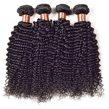 Menneskehår Vevet Peruviansk hår Kinky Krøllet 18 måneder 4 deler hår vever
