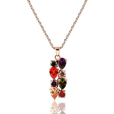 נשים שרשראות תליון קריסטל אבן נוצצת סגסוגת אופנתי תכשיטים עבור חתונה Party יומי קזו'אל