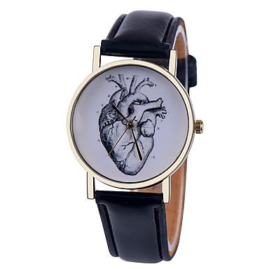 Damen Quartz Armbanduhr Armbanduhren für den Alltag Leder Band Heart Shape Modisch Schwarz Weiß Braun Grün Rosa