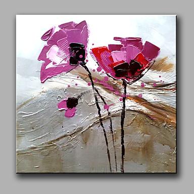 מצויר ביד פרחוני/בוטני ריבוע, קלסי מודרני ציור שמן צבוע-Hang קישוט הבית פנל אחד