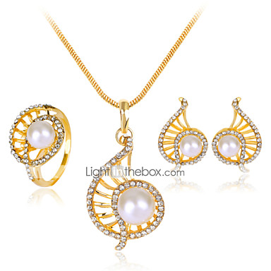 Damen Künstliche Perle Strass Rose Gold überzogen Aleación Niedlich Party Party Alltag Haken Ohrringe Halsketten Modeschmuck