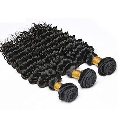 טווה שיער אדם שיער פרואני גל עמוק 18 חודשים 3 חלקים שוזרת שיער