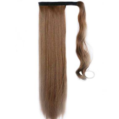 brun 60cm syntetisk høy temperatur tråd parykk rett hår hestehale farge 12