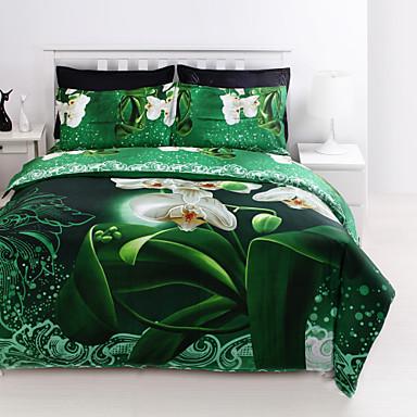 Bettbezug-Sets 3D 4 Stück Polyester / Baumwolle Reaktivdruck Polyester / Baumwolle 4-teilig (1 Bettbezug, 1 Bettlaken, 2 Kissenbezüge)