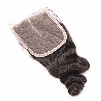 8 12 14 16 18 20inch Koromfekete (#1B) Kézi készített Laza hullám Emberi haj Bezárás Világos barna Svájci csipke 45g gramm Cap Méret