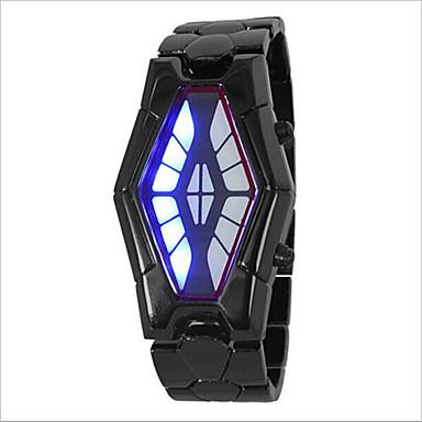 Herrn Damen Paar Armbanduhr Digital 30 m Wasserdicht Kreativ LED Legierung Band digital Modisch Einzigartige kreative Uhr Schwarz / Silber - Silber Schwarz / Rot Schwarz und Blau