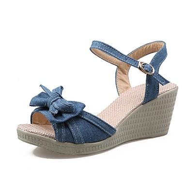 נשים נעליים ג'ינס אביב קיץ עקב טריז פפיון עבור שמלה מסיבה וערב שחור כחול כהה כחול