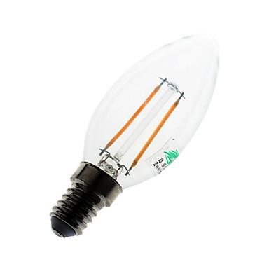 E14 Luzes de LED em Vela C35 2 COB 180 lumens lm Branco Quente K Decorativa AC 220-240 V
