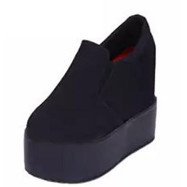 Dames Hoge hakken Fleece Winter Causaal Sleehak Wit Zwart Roze 10 - 12 cm