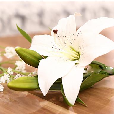 1 Ast Polyester Kunststoff Lilien Tisch-Blumen Künstliche Blumen