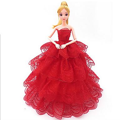 preiswerte Puppen-Puppenkleidung Kostüm Rock Hochzeitskleid Kunststoff Baby Mädchen Spielzeuge Geschenk