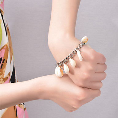 billige Motearmbånd-Dame Vedhend Armband dusk Muslingeskal Armbånd Smykker Sølv / Gylden Til Fest Daglig Avslappet Strand / Skall