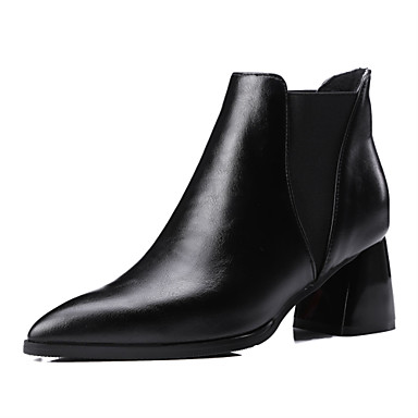 Women's Shoes PU Fall / Winter Heels / Bootie / Pointed Toe Boots Outdoor / Casual Chunky Heel Slip-on