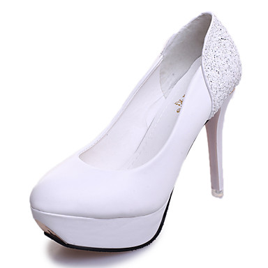Femme Chaussures Similicuir Automne Chaussures à Talons Talon Aiguille Paillette Brillante pour Décontracté Soirée & Evénement Blanc Noir