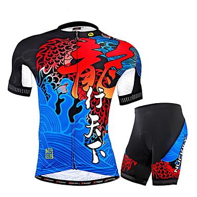 Nuckily Homens Manga Curta Camisa com Shorts para Ciclismo - Azul Geométrico Moto Shorts Camisa/Roupas Para Esporte Conjuntos de Roupas,