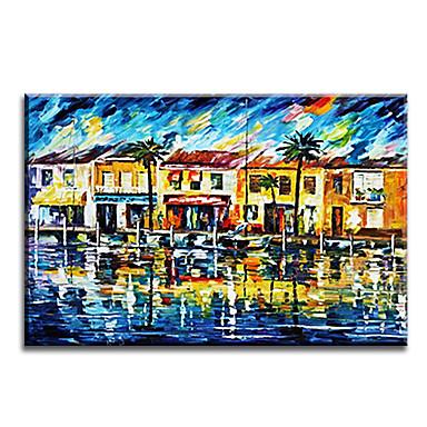 מצויר ביד מופשט אופקי,קלסי מודרני מסורתי ריאליסטי ים- תיכוני פסטורלי סגנון ארופאי בד ציור שמן צבוע-Hang קישוט הבית פנל אחד