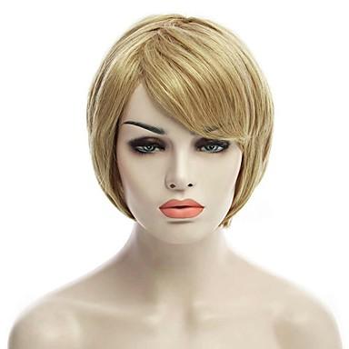 naturlig kort blond farge populær rett syntetisk parykk for kvinne