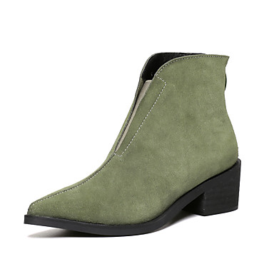 Femme Chaussures Daim Cuir Automne Hiver boîtes de Combat Gros Talon Bottine/Demi Botte Fermeture Elastique Pour Habillé Soirée &