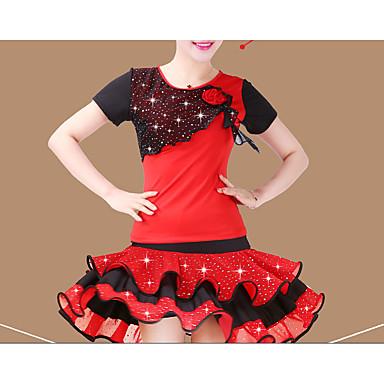 ラテンダンス セット 女性用 性能 ポリエステル スパンコール 半袖 ナチュラルウエスト 上着 スカート