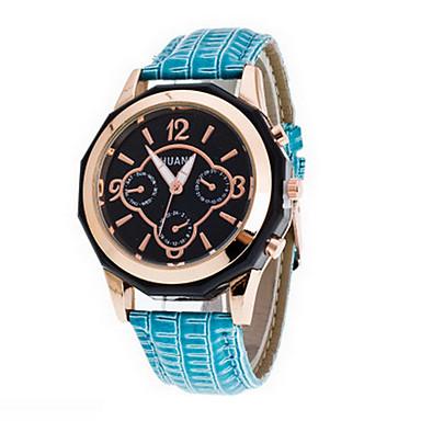 Mulheres Relógio de Moda Quartzo Relógio Casual PU Banda Luxo Preta Azul Rosa Roxa