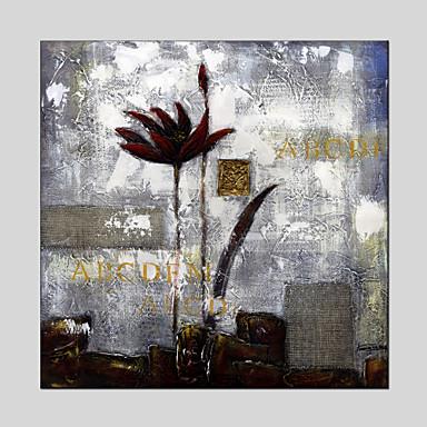 מצויר ביד פרחוני/בוטני ציורי שמן,מודרני פנל אחד בד ציור שמן צבוע-Hang For קישוט הבית