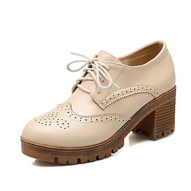 Mulheres Sapatos Couro Ecológico Primavera Verão Outono Conforto Salto Robusto Cadarço para Casual Escritório e Carreira Social Preto