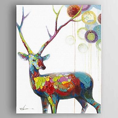 Handgemalte Abstrakt / Tier Ölgemälde,Klassisch / Europäischer Stil / Modern Ein Panel Leinwand Hang-Ölgemälde For Haus Dekoration