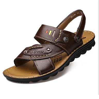Homme Chaussures Cuir Eté Sandales Marche pour Décontracté De plein air Noir Jaune Marron