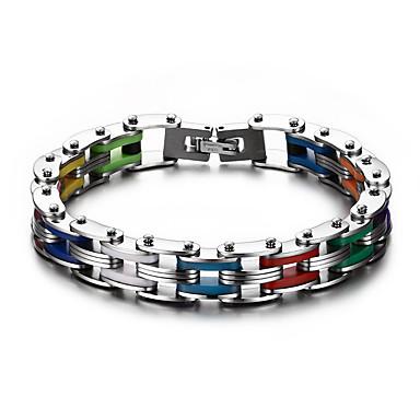 בגדי ריקוד גברים שרשרת וצמידים אופנתי צבעוני מותאם אישית פלדת טיטניום Geometric Shape תכשיטים עבור יומי קזו'אל