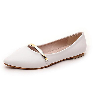 Mulheres Sapatos Couro Envernizado Primavera / Verão Conforto Sem Salto Lantejoulas Branco / Preto / Rosa claro