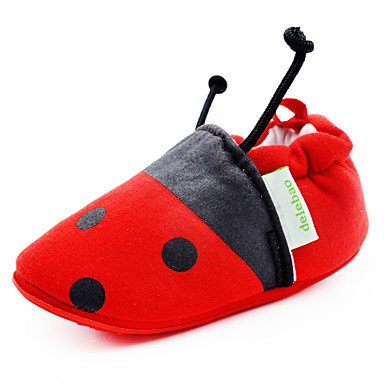 Jungen Mädchen Baby Flache Schuhe Lauflern Kinderbett Schuhe Stoff Frühling Sommer Herbst Normal Tupfen Rot