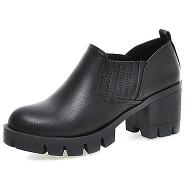 Calçados Femininos-Botas-Saltos / Plataforma / Arrendondado / Botas da Moda-Salto Grosso-Preto / Cinza / Bege-Courino / Couro Ecológico-