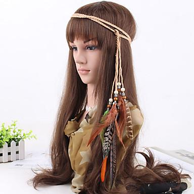 grânulos de penas tecido boemia das mulheres tecem headbands 1 peça