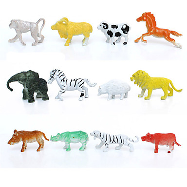 12pcs akcijske figure životinja postaviti modeliranje slon / pavijan / lav / planina krava / koza / divlja svinja / jež