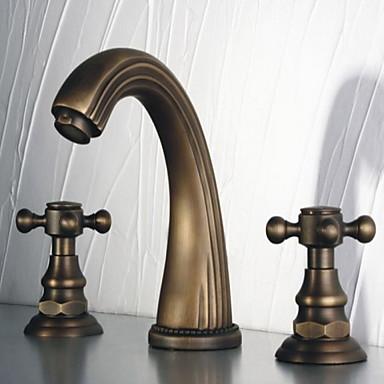 Antike 3-Loch-Armatur drehbar Messingventil Zwei Griffe Drei Löcher Antike Bronze, Waschbecken Wasserhahn