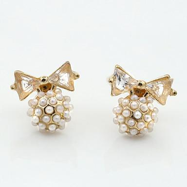 Imitation de perle Strass Alliage Mode Forme de Noeud Or Bijoux Mariage Soirée Quotidien Décontracté Sports 1 paire