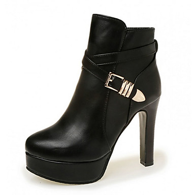 Dames Laarzen Modieuze laarzen PU Herfst Winter Causaal Modieuze laarzen Gesp Blokhak Zwart Rood 10 - 12 cm