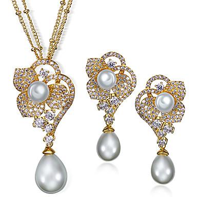Collier / Boucles d'oreilles Mode Zircon Cuivre Platiné Plaqué or Forme de Fleur Or Blanc Colliers décoratifs Boucles d'oreille Pour