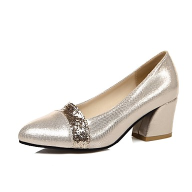 Sko-PU-Tykk hæl-Hæler / Komfort / Spiss tå-høye hæler-Kontor og arbeid / Formell / Fritid-Svart / Sølv / Gull