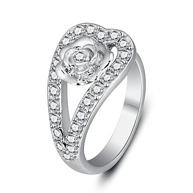 Anéis Grossos Liga Zircão Forma Redonda Moda Jóias da indicação Prata Jóias Festa Diário Casual 1peça