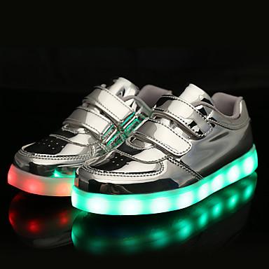 Para Meninas Para Meninos sapatos Couro Envernizado Primavera Outono Tênis com LED Conforto Tênis Velcro para Atlético Casual Ao ar livre