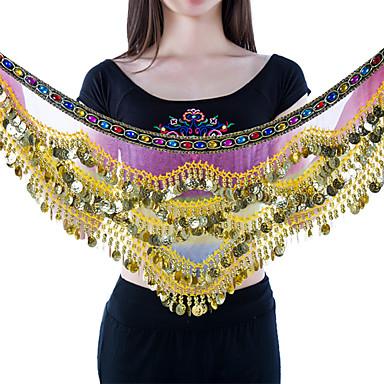 Dança do Ventre Lenços de Quadril para Dança do Ventre Mulheres Apresentação Náilon Chinês Moedas de Ouro 1 Peça Sem Mangas CaídoXale de