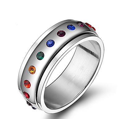 Anéis Grossos Aço Inoxidável Strass Moda Jóias Diário Casual 1peça
