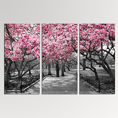 Abstrakte Landskap Moderne,Tre Paneler Lerret Vannrett Trykk