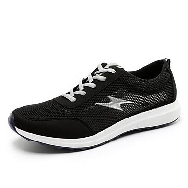 男性用 靴 チュール 春 秋 コンフォートシューズ スニーカー フラットヒール 編み上げ のために スポーツ ブラック グレー ブルー