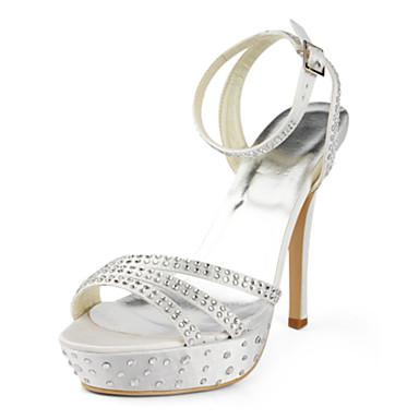 Svart / Blå / Gul / Rosa / Lilla / Rød / Hvit / Sølv / Gull / Beige / Mandel-Bryllup sko-Dame-Hæler / Åpen tå-Flate sko-Bryllup / Formell